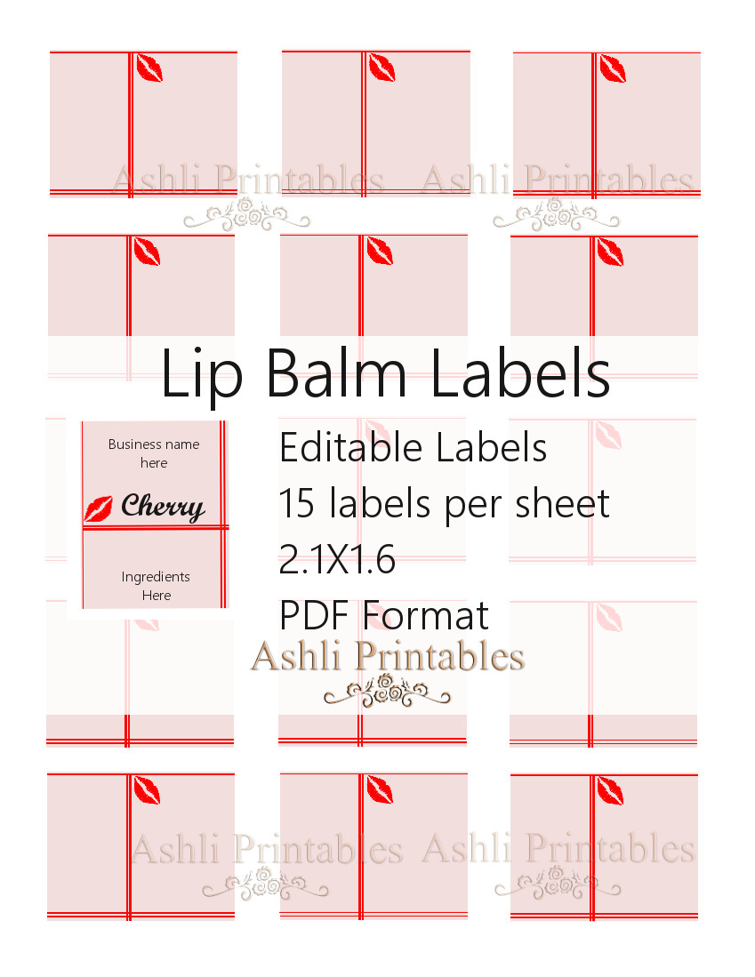 Lip Balm Labels Ashlisoapblog - Lip balm label template